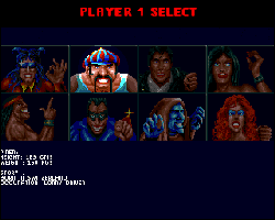 Dangerous streets CD32: Selection screen